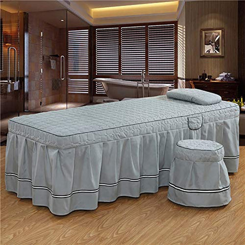 KE & LE High-Grade Solid Color Massage Table Sheet Sets, 4 Piece Skin-Friendly Cotton Massage European Bed Sets with Holes Can be Customized-C 190x70cm