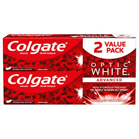 Colgate Optic White Whitening Toothpaste, Sparkling Mint - 5 oz, 2 Pack