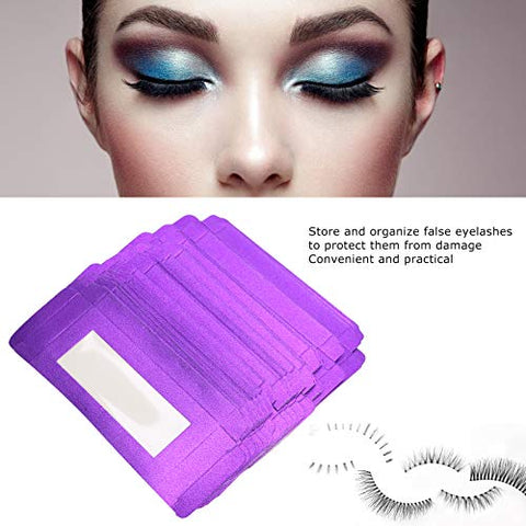 False Eyelash Storage Box, Eyelash Packaging Display Box, False Eyelashes Empty Storage Paper Box Organizer for Eyelash Tool 20pcs/set (purple)