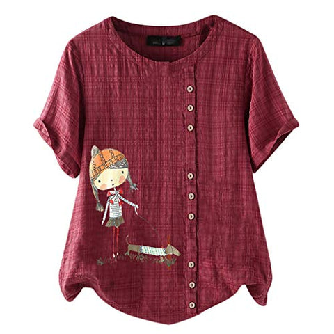 HGWXX7 Womens Vintage Short Sleeve Cotton Linen Shirts Casual Floral Print Blouse Loose Tunic Tops Pullover Plus Size T-Shirt