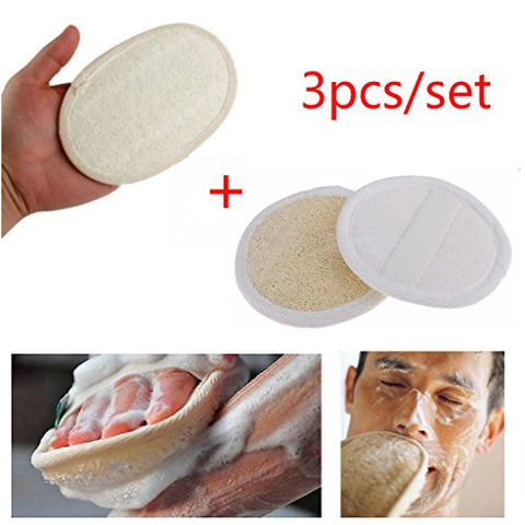 SDENSHI 2pcs Round Loofah Sponge Face Wash Puff + 1pc