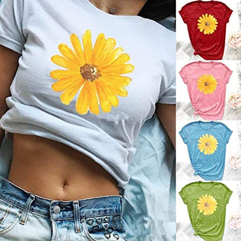 terbklf Flower Print Shirts for Women O Neck Short Sleeve Loose Blouse Shirt Ladies Fashion Tops Basic Tees for Women White