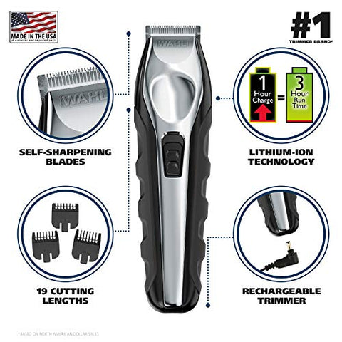Wahl Lithium Ion Total Beard Trimmer, Facial Hair Clippers With 13 Guide Combs For Easy Trimming, De