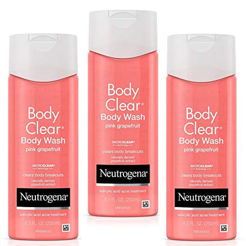 Neutrogena Body Clear Body Wash With Salicylic Acid Acne Treatment To Prevent Breakouts, Pink Grapef