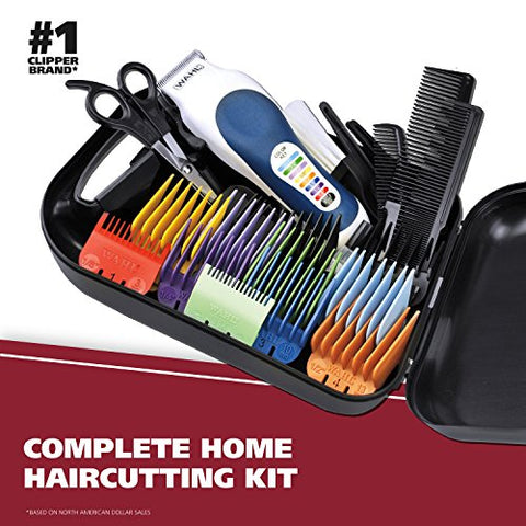 Wahl Clipper Color Pro Complete Hair Cutting Kit for Men, Women, & Children with Colored Guide Combs for Smooth, Easy Haircuts - Model 79300-1001