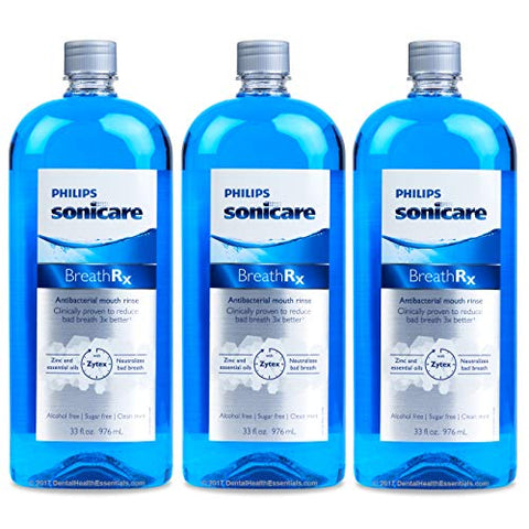 Phillips sonicare BreathRx Anti-bacterial Mouth Rinse, 3 Bottle Economy Pack (Each bottle is 33 oz)