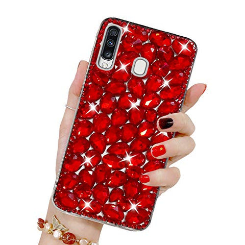 Bling Diamond Case for Galaxy M30, Mistars 3D Handmade Sparkle Glitter Crystal Rhinestone Hard PC Back Cover + Soft TPU Frame Protective Case for Samsung Galaxy M30, Red