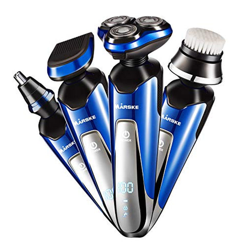 4 In 1Rechargeable Electric Shaver Razor Men Rotary Shaver For Men Cordless Wet Dry Beard Trimmer Nose Hair Trimmer Face Cleaning Brush for Dad, Husband