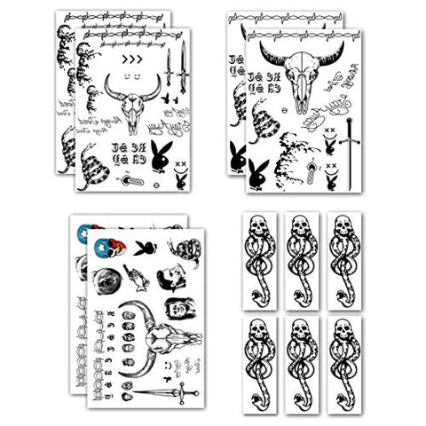 Leoars Temporary Face Tattoos, Tribal Fake Knife Tattoo Stickers and Death Eaters Dark Mark Skull Tattoos for Halloween Cosplay Costume Favor, 12-Sheet