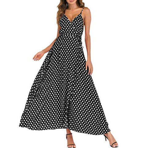 terbklf Strappy Dresses for Women Party Wedding Summer Sexy Deep V Dress Polka Dot Dress for Women Party Dress Plus Size Black