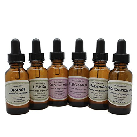 Fruit 100% Pure Therapeutic Grade Essential Oils Set/Kit 6/1 oz (Bergamot Clementine Lemon Grapefruit Blood Orange Lime)