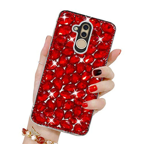 Bling Diamond Case for Huawei Mate 20 Lite, Mistars 3D Handmade Sparkle Glitter Crystal Rhinestone Hard PC Back Cover + Soft TPU Frame Protective Case for Huawei Mate 20 Lite, Red