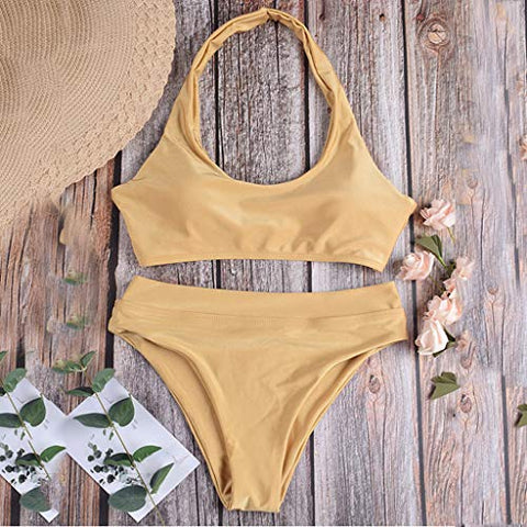 Xinantime Womens Solid Two Piece Swimsuits High Waist Swimwear Bathing Suits for Women (Gold,S)