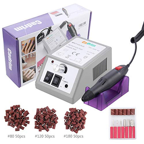 Electric Nail Drill Cadrim Nail Drill Machine Nail File Drill Set Kit for Acrylic Nails Gel Nail Glazing Nail Drill Nail Art Polisher Sets Glazing Nail Drill Fast Manicure Pedicure (White)