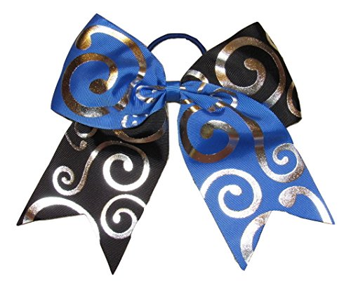 "New""Silver Swirl Blue & Black"" Cheer Bow Pony Tail 3"" Ribbon Girls Hair Bows Cheerleading Dance Prac"