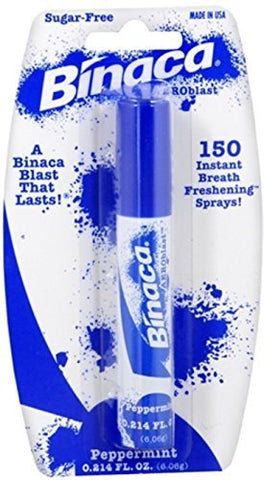 DR FRESH Binaca Aerosol Breath Spray PepperMint 0.20 oz (Pack of 3)