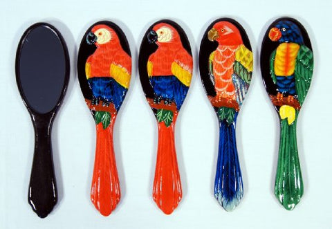 Wholesale Pack Handpainted Assorted Parrot Bird Handheld Mirror (Set Of 12)