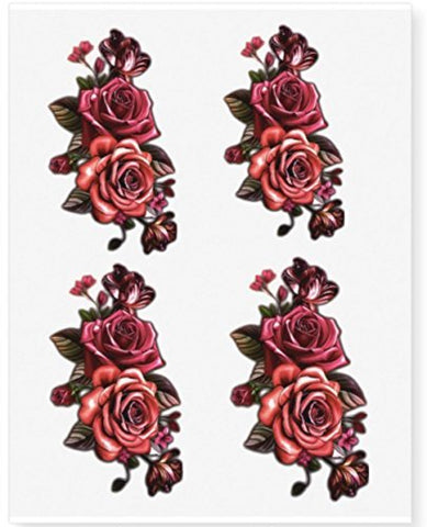 Flower Temporary Tattoos - Twin Rose (Set of 4 Sheets) Mixed Color Red/Pink Roses 16 Individual Waterproof Sticker Fake Tattoo
