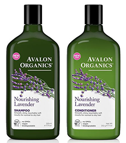 Avalon Organics All Natural Lavender Nourishing Shampoo and Conditioner With Aloe, Lavender, Chamomile, Peppermint and Babassu Oil, Sulfate Free, Paraben Free, Cruelty Free and Vegan, 11 fl. oz. each