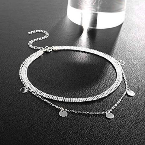 Jovono Boho Multilayered Choker Necklaces Fashion Sequins Pendant Necklace Chain Jewelry for Women and Girls (Silver)