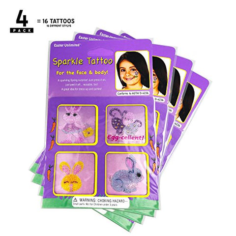 EU Easter Glitter Sparkle Design Tattoos, Pack of 16 by Easter Unlimited