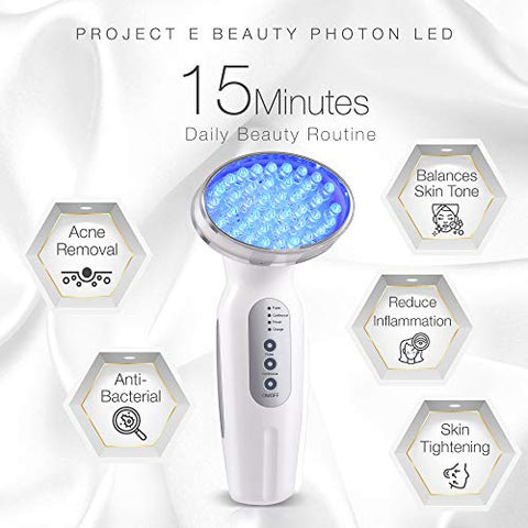Project E Beauty Blue LED+ Acne Light Therapy | 415nm Blue Photon Beauty LED Therapy Anti Acne Spot Scars Removal Reduce Inflammation Smooth Improving Sensitive Calming Facial Device