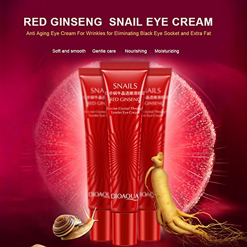 Snail Repair Eye Cream Ginseng Secretes Mucus Extract Eye Serum for Moisturing, Dark Circles, Puffiness, Wrinkles, Sagging Anti-Aging Skin Care Lotion