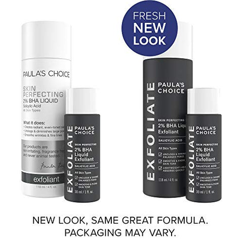 Paula's Choice Skin Perfecting 2% BHA Liquid Salicylic Acid Exfoliant Duo, Gentle Exfoliator for Blackheads, Large Pores, Wrinkles & Fine Lines, Includes 1 Full Size Bottle & 1 Travel Size Bottle