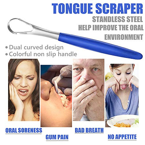 Tongue Scraper Cleaner 4 Pack Stainless Steel for Healthy Oral Care, Help Fight Bad Breath