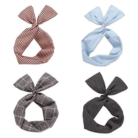 Twist Bow Wired Headbands Scarf Wrap Hair Accessory Hairband By Sea Team (4 Packs)