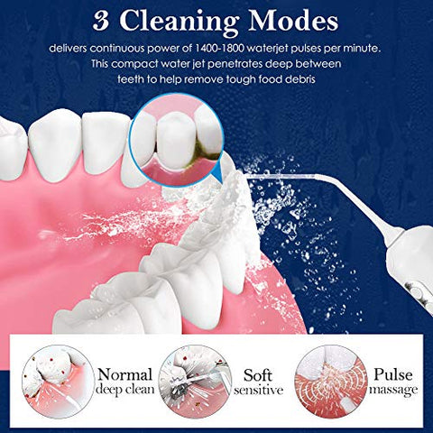 Cordless Water Flosser Teeth Cleaner, [Newest 2020] High Plus Rechargable Portable Oral Irrigator Fo