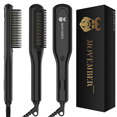 Beard Straightener, Heated Beard Straightening Comb for Men, Electric Ionic Beard Iron Brush Hot Beard Styler Dual Voltage/Anti-Scald/3 Temp Modes/Auto Shut-Off/LED Display/Portable for Home & Travel