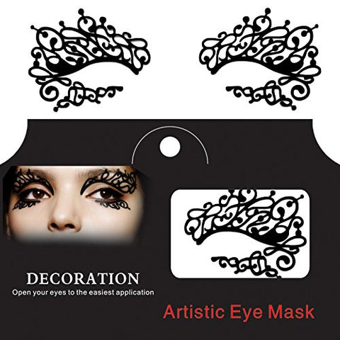 CoCocina Halloween Squishy Eye Liner Sticker Lace Fretwork Papercut Face Temporary Costume Party - Black