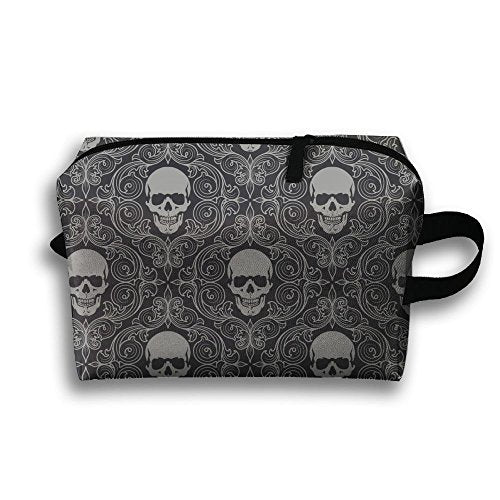 Women's Travel Case Cosmetic Storage Bags Skull Drawing Gray Makeup Clutch Pouch Organizer Bag Pencil Holder