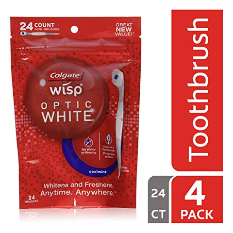 Colgate Optic White Wisp Disposable Mini Toothbrush, Cool Mint   24 Count (4 Pack)