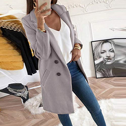 Jushye_Coat Overcoat for Women,Jushye Teens Girls Elegant Long Wool Coat Button Solid Overcoat Outwear Jacket with Pocket (XXXL, Gray)