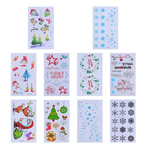 Lurrose 20 Sheets Christmas Temporary Tattoos Waterproof Cartoon Tattoo Stickers Christmas Party Favors Supplies for Kids Children