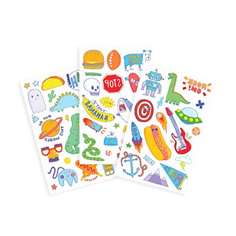 OOLY, Tattoo Palooza Skin-Friendly and Non-Toxic Temporary Tattoo for Kids - Awesome Doodles, 3 Sheets