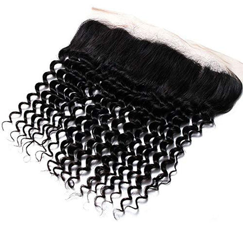 Hairpieces Fashian Women's Deep Wave Brazilian Hair Weave 413inch Lace Frontal Closure 100% Human Hair Extensions for Daily Use and Party (Color : Black, Size : 12 inch)
