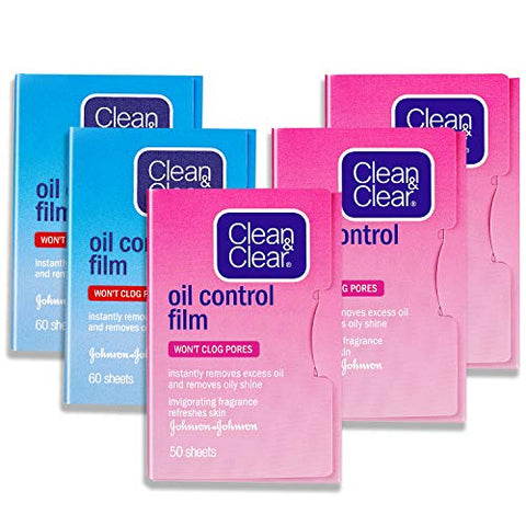 Oil Control Film, Same Series with Clean & Clear Oil Absorbing Sheets for Oily Skin Care, Blotting Paper to Remove Excess & Shine (2blue+3pink)