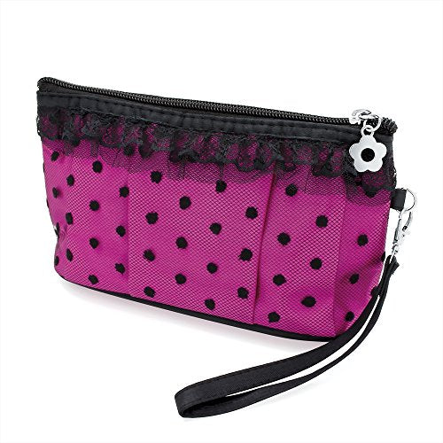 Black Lace Frill Design Pink Make Up Bag Cosmetics Purse - Beauty Accessories