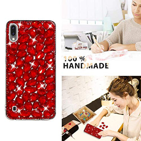 Bling Diamond Case for Galaxy M10, Mistars 3D Handmade Sparkle Glitter Crystal Rhinestone Hard PC Back Cover + Soft TPU Frame Protective Case for Samsung Galaxy M10, Red