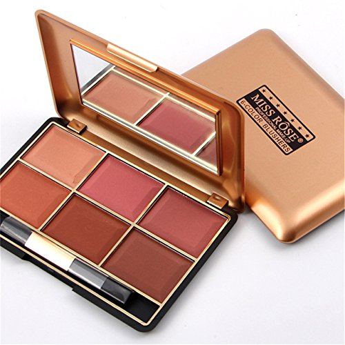 FantasyDay Pro 6 Colors Large Compact Powder Blush/Cheek Contouring Blusher Makeup Palette Contouring Kit #1