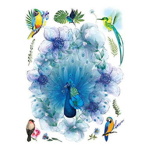 Supperb Large Temporary Tattoos - Watercolor Dream of peacock & Hummingbirds