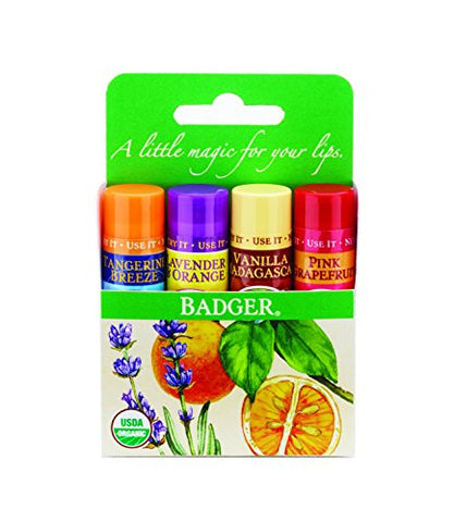 Badger Organic Lip Balm 4 Sticks Gift Set green Pack by grafton International, 2.4 Oz