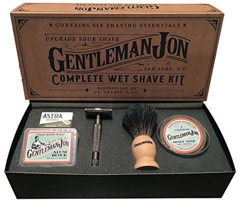 Gentleman Jon Complete Wet Shave Kit | Includes 6 Items: One Safety Razor, One Badger Hair Brush, One Alum Block, One Shave Soap, One Stainless Steel Bowl and Five Razor Blades