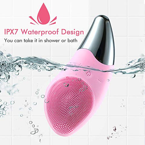 Facial Cleansing Brush, Electric Face Cleansing Brush with 3 Function Modes, IPX7 Waterproof Silicone Face Scrubbers for All Skin Types, Gentle Exfoliating, Deep Cleansing, Massaging (Pink)