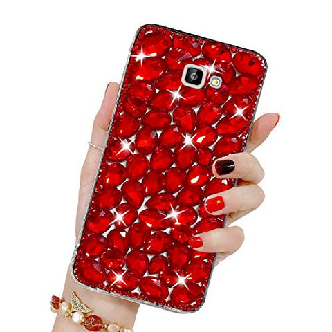Bling Diamond Case for Galaxy J4 Plus 2018, Mistars 3D Handmade Sparkle Glitter Crystal Rhinestone Hard PC Back Cover + Soft TPU Frame Protective Case for Samsung Galaxy J4 Plus 2018, Red