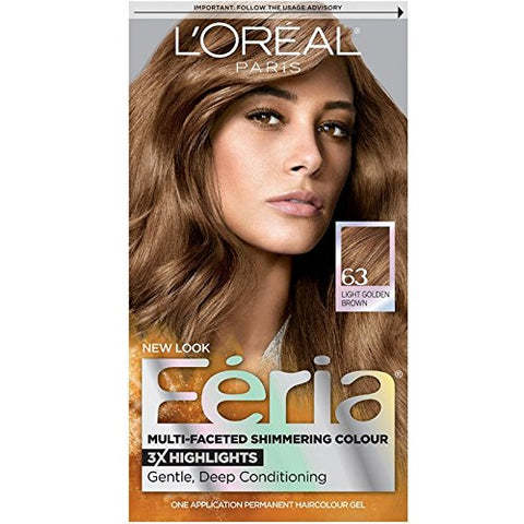 L'Oreal Paris Feria Multi-Faceted Shimmering Color, Light Golden Brown [63] 1 ea