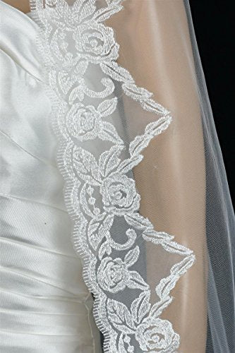 Bridal Wedding Mantilla Veil White 1 Tier Long Cathedral Length With Lace Edge